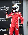 26.08.2018, Circuit de Spa-Francorchamps, Spa-Franchorchamps, FORMULA 1 2018 JOHNNIE WALKER BELGIAN GRAND PRIX, 23. - 26.08.2018<br /> , im Bild<br />Sieger Sebastian Vettel (GER#5), Scuderia Ferrari steht auf seinem Auto und feiert den Sieg<br /> Foto &copy; nordphoto / Bratic