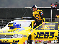 Feb 9, 2014; Pomona, CA, USA; NHRA pro stock driver Jeg Coughlin Jr during the Winternationals at Auto Club Raceway at Pomona. Mandatory Credit: Mark J. Rebilas-