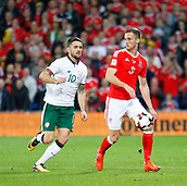 9th October 2017, Cardiff City Stadium, Cardiff, Wales; FIFA World Cup Qualification, Wales versus Republic of Ireland; Andy King (Wales) keeps the ball away from Robbie Brady (Republic of Ireland)