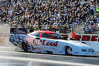 Oct. 26, 2012; Las Vegas, NV, USA: NHRA funny car driver Paul Lee during qualifying for the Big O Tires Nationals at The Strip in Las Vegas. Mandatory Credit: Mark J. Rebilas-