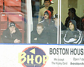 Members of Northeastern University's men's hockey team watch warmups before departing for their road game. - The University of Connecticut Huskies defeated the Northeastern University Huskies 4-1 in Hockey East quarterfinal play on Saturday, February 27, 2010, at Matthews Arena in Boston, Massachusetts.