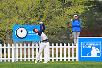 Sebastien Gros (FRA) on the 1st tee during Round 4 of the Open de Espana 2018 at Centro Nacional de Golf on Sunday 15th April 2018.<br /> Picture:  Thos Caffrey / www.golffile.ie<br /> <br /> All photo usage must carry mandatory copyright credit (&copy; Golffile | Thos Caffrey)
