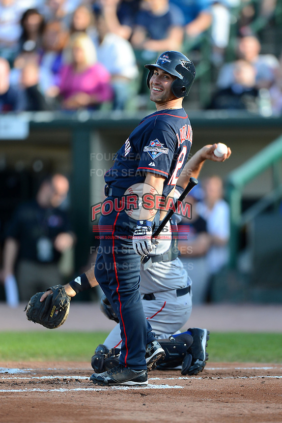 Washington resident Vinny Laorenza reacts to a pitch thrown by Pedro Martinez (not shown) for a called strike three during the MLB Pepsi Max Field of Dreams game on May 18, 2013 at Frontier Field in Rochester, New York.  (Mike Janes/Four Seam Images)