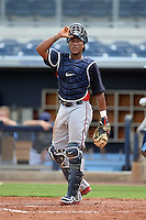 Minnesota Twins catcher Jorge Fernandez (38) during an Instructional League game against the Tampa Bay Rays on September 16, 2014 at Charlotte Sports Park in Port Charlotte, Florida.  (Mike Janes/Four Seam Images)