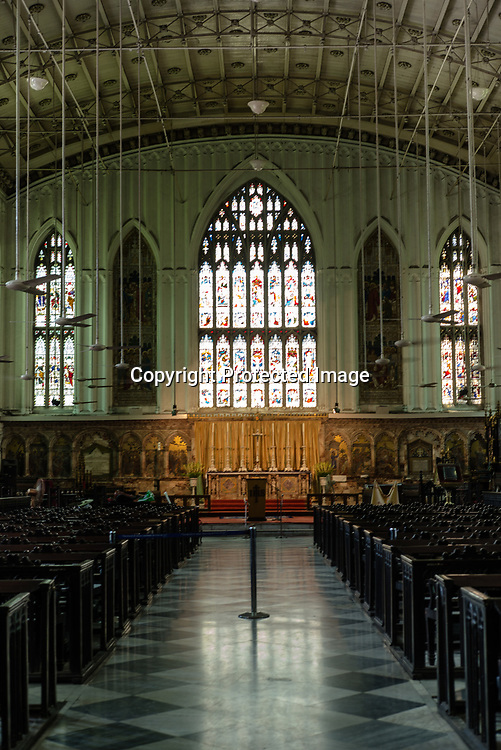 Interiors of St. Paul's Cathedral noted for its Gothic architecture is seen in Kolkata, West Bengal on Thursday, May 25, 2017. Photographer: Sanjit Das