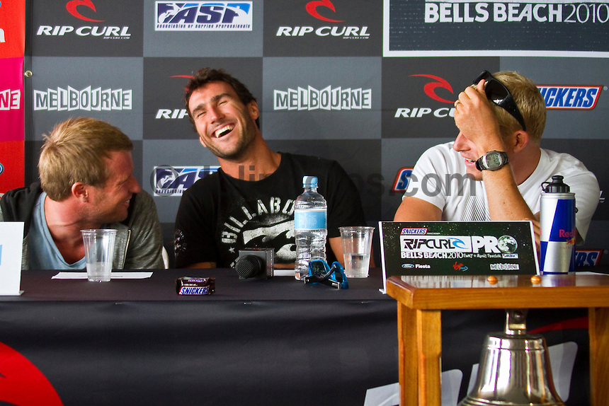 Taj Burrow ((AUS), Joel Parkinson(AUS) and Mick Fanning (AUS) Bells Beach, Torquay, Victoria, Australia (Monday, March 29, 2010) The waiting period for the 2010 Rip Curl Pro Bells and the Rip Curl Women's Pro kicks off tomorrow at the famous Bells Beach. The Rip Curl Pro is the second stop on the ASP World Tour and brings together the world's best male and female surfers. Not only will they be chasing valuable rating points and prize money but they will also be after bragging rights and the infamous Bell trophy..Reigning World Champions, Mick Fanning (AUS) and Stephanie Gilmore (AUS) will be leading the charge along with defending event Champion Joel Parkinson(AUS). This years line up will also include past event champions Andy Irons (HAW) and kelly Slater (USA), current World #1 Taj Burrow and ASP tour  rookie Owen Wright (AUS). Photo: joliphotos.com