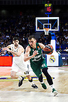 Real Madrid's Santiago Yusta and  during Euroligue match between Real Madrid and Zalgiris Kaunas at Wizink Center in Madrid, Spain. April 4, 2019.  (ALTERPHOTOS/Alconada)