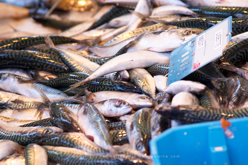 Street market merchant's stall with many different type of fish Sanary Var Cote d'Azur France