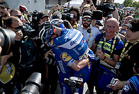 Post-race joy for Julian Alaphilippe (FRA/Deceuninck - Quick-Step) who wins Stage 3 from Binche (BEL) to Épernay (FRA)(214km) & becomes the new GC-leader (thus: yellow jersey!)<br /> <br /> 106th Tour de France 2019 (2.UWT)<br /> <br /> ©kramon