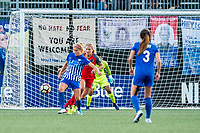 Boston, MA - Sunday September 10, 2017: Rosie White and Lindsey Horan during a regular season National Women's Soccer League (NWSL) match between the Boston Breakers and Portland Thorns FC at Jordan Field.