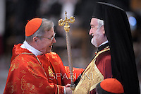 Cardinal Walter Kasper Eminence Ioannis Zizioulas  Metropolitan of Pergamon.Pope Francis during a mass for the new metropolitan archbishops and the solemnity of Saints Peter and Paul on June 29, 2014 at St Peter's basilica in Vatican.