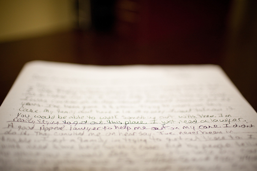 Detail of a copy of a letter written by a prisoner requesting help with DNA testing to The Innocence Project of Texas.