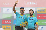 Omar Fraile (ESP) and Dario Cataldo (ITA) Astana Pro Team collect the team prize at the end of Stage 20 of the La Vuelta 2018, running 97.3km from Andorra Escaldes-Engordany to Coll de la Gallina, Spain. 15th September 2018.                   <br /> Picture: Colin Flockton | Cyclefile<br /> <br /> <br /> All photos usage must carry mandatory copyright credit (&copy; Cyclefile | Colin Flockton)
