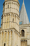 Close-up of Rochester Cathedral spire and tower