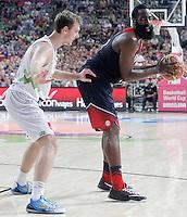 Slovenia's Goran Dragic (l) and USA's James Harden during 2014 FIBA Basketball World Cup Quarter-Finals match.September 9,2014.(ALTERPHOTOS/Acero)