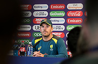 Aaron Finch (Australia) takes and answers questions during a Press Conference at Edgbaston Stadium on 10th July 2019