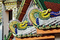 Decorative dragons, Wat Pho, Bangkok, Thailand