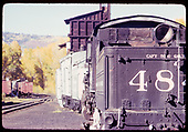 D&amp;RGW #484 - Chama, coaling tower in background - Rotary OM in front of train.<br /> D&amp;RGW  Chama, NM