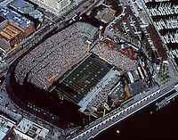 aerial photograph packed Giants Stadium during XFL football game San Francisco, California