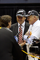 BERKELEY, CA - MARCH 30: Stanford AD Bob Bowlsby and Stanford University president John Hennessey congratulate head coach Tara Vanderveer following Stanford's 74-53 win against the Iowa State Cyclones on March 30, 2009 at Haas Pavilion in Berkeley, California.