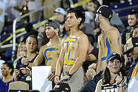 25 October 2011:  FIU fans, complete with body paint, cheer on their team in the third quarter as the FIU Golden Panthers defeated the Troy University Trojans, 23-20 in overtime, at FIU Stadium in Miami, Florida.