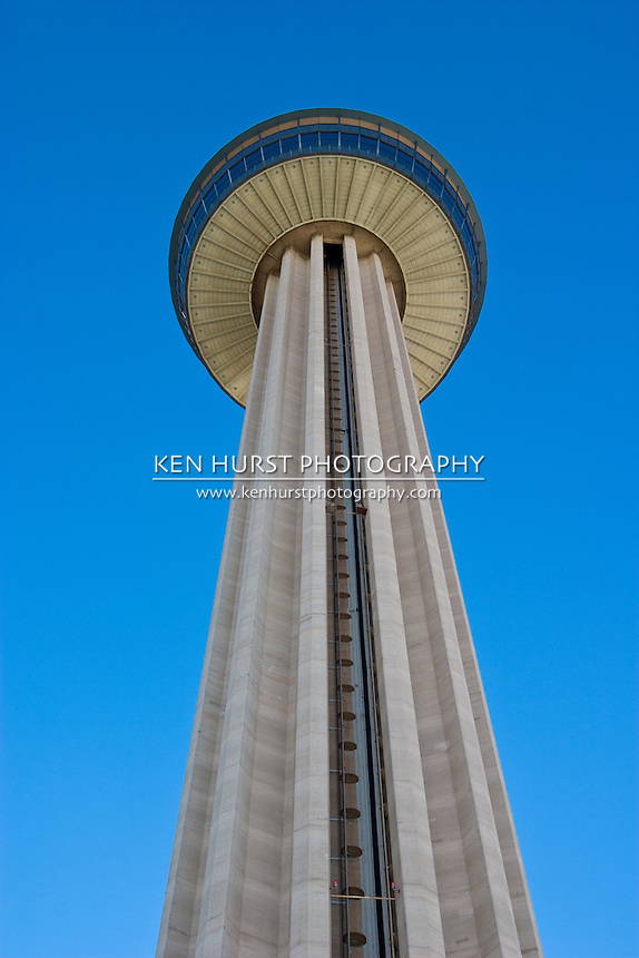 Tower Of The Americas, a 750 foot tall observation tower and restaurant in HemisFair Park in San Antonio, Texas, USA.