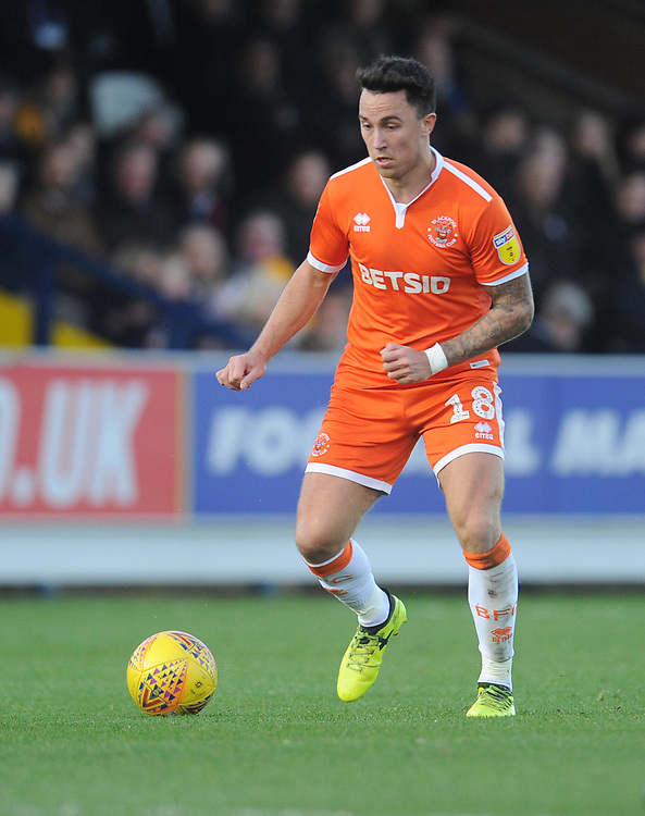 Blackpool's John O'Sullivan<br /> <br /> Photographer Kevin Barnes/CameraSport<br /> <br /> The EFL Sky Bet League One - AFC Wimbledon v Blackpool - Saturday 29th December 2018 - Kingsmeadow Stadium - London<br /> <br /> World Copyright © 2018 CameraSport. All rights reserved. 43 Linden Ave. Countesthorpe. Leicester. England. LE8 5PG - Tel: +44 (0) 116 277 4147 - admin@camerasport.com - www.camerasport.com