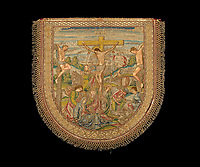 BNPS.co.uk (01202 558833)<br /> Pic: IndarPasricha/BNPS<br /> <br /> The ornately embroided hood of the Philip II cope, depicting the Crucification.<br /> <br /> From High Fashion to the High Church...<br /> <br /> An incredible collection of 17th century ecclesiastical textiles, that actually started life as luxury fashion worn by the aristocratic women of the day, has emerged for sale.<br /> <br /> The historically important ensemble highlights a golden moment in European textile production dating from 1690 to 1720 when free reign was given to intricate dress designs in gold and silk that was soon adopted by the senior members of the church to adorn they're otherwise plain vestments.<br /> <br /> The valuable collection, assembled over two decades, is now being sold with prices ranging from &pound;5,000 all the way to &pound;1m.