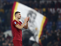 Football, Serie A: AS Roma - S.S. Lazio, Olympic stadium, Rome, January 26, 2020. <br /> Roma's captain Edin Dzeko greets Roma's fans at the end of the Italian Serie A football match between Roma and Lazio at Olympic stadium in Rome, on January,  26, 2020. <br /> UPDATE IMAGES PRESS/Isabella Bonotto