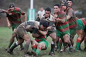 S. Fishulau & S. Kotoa wrap up the Waiuku attacker. Counties Manukau Premier 1 McNamara Cup round 2 rugby game between Manurewa & Waiuku played at Mountfort Park, Manurewa on the 30th of June 2007. Manurewa led 19 - 3 at halftime and went on to win 31 - 3.