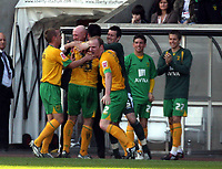 ATTENTION SPORTS PICTURE DESK<br /> Pictured: Alan Lee of Norwich (23) celebrating his equaliser with team matres and team manager Bryan Gunn who hugs him<br /> Re: Coca Cola Championship, Swansea City FC v Norwich City FC at the Liberty Stadium Swansea, south Wales. Saturday 11 April 2009.<br /> Picture by D Legakis Photography / Athena Picture Agency, Swansea 07815441513