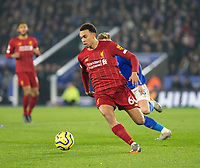 26th December 2019; King Power Stadium, Leicester, Midlands, England; English Premier League Football, Leicester City versus Liverpool; Trent Alexander Arnold of Liverpool running with the ball at his feet - Strictly Editorial Use Only. No use with unauthorized audio, video, data, fixture lists, club/league logos or 'live' services. Online in-match use limited to 120 images, no video emulation. No use in betting, games or single club/league/player publications