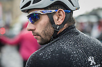 Fernando Gaviria (COL/Etixx-QuickStep) collecting raindrops at the start<br /> <br /> Tour de l'Eurom&eacute;tropole 2016 (1.1)<br /> Poperinge &rsaquo; Tournai (196km)/ Belgium
