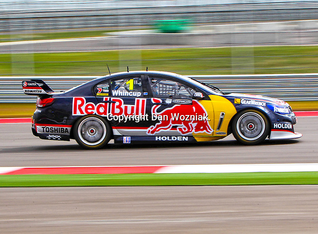 Jamie Whincup (1) in action during the V8 Supercars and the Porsche GT3 Cup cars practice sessions at the Circuit of the Americas race track in Austin,Texas. ..