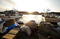 Fishing boats in a harbor, Noto, Ishikawa prefecture, Japan, December 18, 2010.