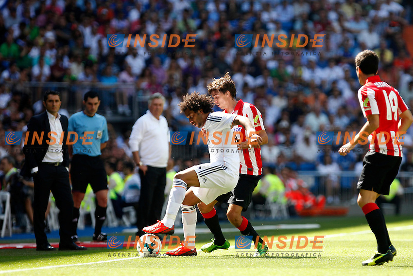 Real Madrid's Marcelo and Athletic Club's Iturraspe during La Liga Match. September 01, 2013. (ALTERPHOTOS/Caro Marin) <br /> Football Calcio 2013/2014<br /> La Liga Spagna<br /> Foto Alterphotos / Insidefoto <br /> ITALY ONLY