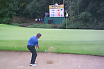 Ryder Cup 206 K Club, Straffan, Ireland..European Ryder Cup team player Darren Clarke chips out of the bunker on the 1st hole during  the  morning fourballs session of the second day of the 2006 Ryder Cup at the K Club in Straffan, Co Kildare, in the Republic of Ireland, 23 September 2006...Photo: Eoin Clarke/ Newsfile.