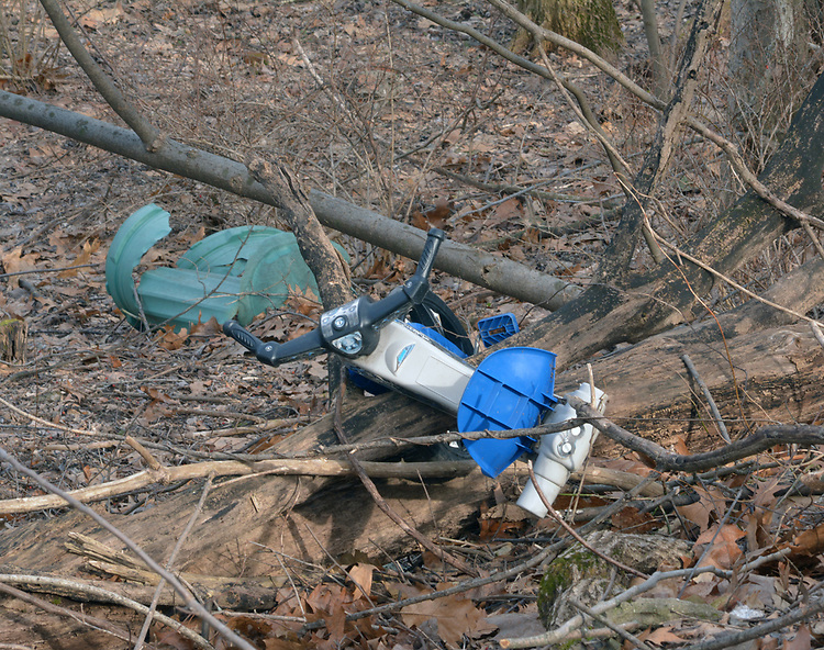 Abandoned junk in the Preserve seen from along the Kalina Ave entrance Trail at the Esopus Bend Nature Preserve in Saugerties, NY, Saturday, March 3, 2018. Photo by Jim Peppler. Copyright/Jim Peppler/2018.