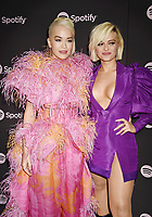 LOS ANGELES, CA - FEBRUARY 07: Rita Ora (L) and Bebe Rexha attend Spotify's Best New Artist Party at the Hammer Museum on February 07, 2019 in Los Angeles, California.<br /> CAP/ROT/TM<br /> ©TM/ROT/Capital Pictures