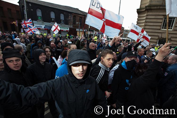 © Joel Goodman - 07973 332324 . 02/04/2011 . Blackburn , UK . The English Defence League ( EDL ) hold a demonstration in Blackburn . Photo credit : Joel Goodman