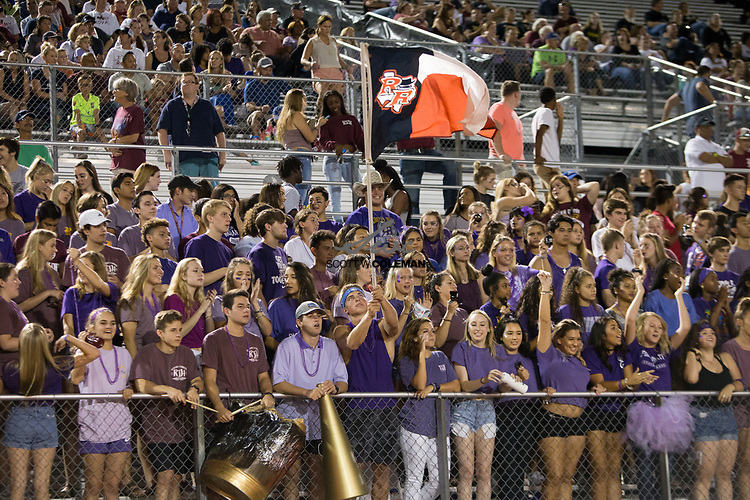 The Rouse Raiders student section during a high school football game between the Rouse Raiders and the East View Patriots at A.C. Bible Stadium in Leander, Texas, on Friday, September 15, 2017.