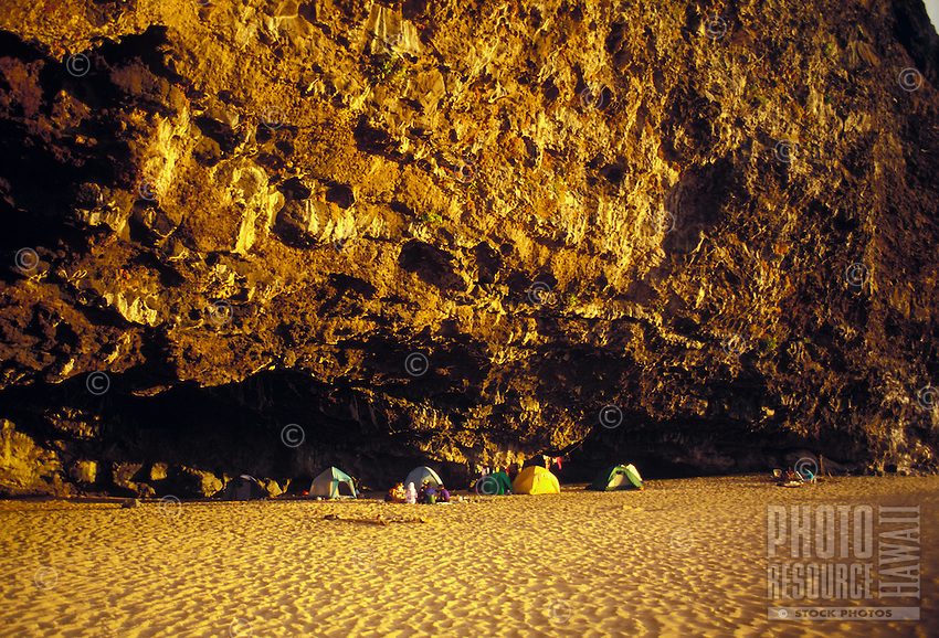 Camping in a cave near the beach in Kalalau valley, Na Pali Coast