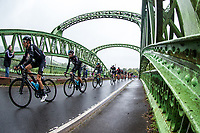 Picture by Alex Whitehead/SWpix.com - 10/09/2017 - Cycling - OVO Energy Tour of Britain - Stage 8, Worcester to Cardiff - Team Sky's Geraint Thomas leads the peloton over Chain Bridge.