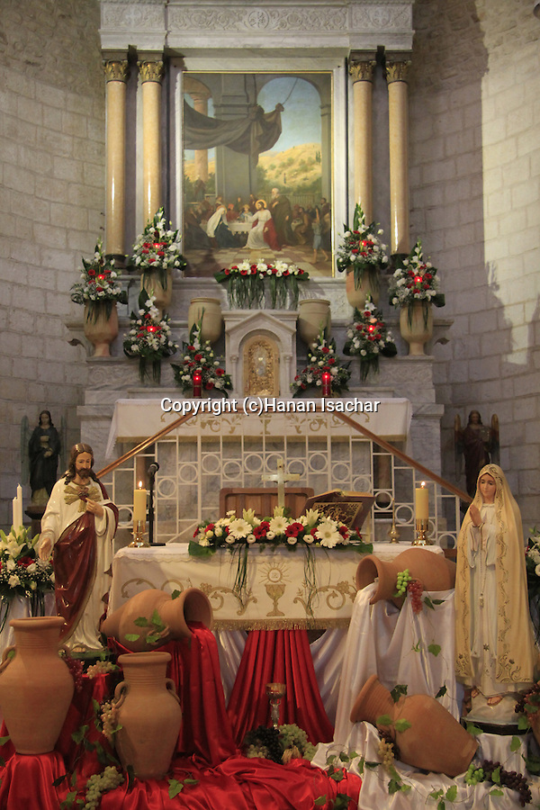 Israel, Lower Galilee, the Franciscan Church at Kafr Cana mark the place where Jesus performed his first miracle, turning water into wine for a wedding feast