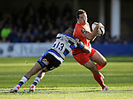Florian Fritz of Toulouse is tackled by Jonathan Joseph of Bath - European Rugby Champions Cup - Bath Rugby vs Toulouse - Recreation Ground Bath - Season 2014/15 - October 25th 2014 - <br /> Photo Malcolm Couzens/Sportimage
