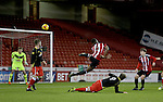 Sheffield United's Sam Graham fires his header during the FA Youth Cup First Round match at Bramall Lane Stadium, Sheffield. Picture date: November 1st 2016. Pic Richard Sellers/Sportimage