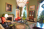 """The 2016 White House Christmas decorations are previewed for the press at the White House in Washington, DC on Tuesday, November 29, 2016. Pictured are the decorations in the Green Room. The first lady's office released the following statement to describe those decorations, """"This year's holiday theme, 'The Gift of the Holidays,' reflects on not only the joy of giving and receiving, but also the true gifts of life, such as service, friends and family, education, and good health, as we celebrate the holiday season.""""<br /> Credit: Ron Sachs / CNP"""