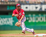 26 April 2014: Washington Nationals infielder Anthony Rendon gets a Jedd Gyorko grounder in the 5th inning against the San Diego Padres at Nationals Park in Washington, DC. The Nationals shut out the Padres 4-0 to take the third game of their 4-game series. Mandatory Credit: Ed Wolfstein Photo *** RAW (NEF) Image File Available ***