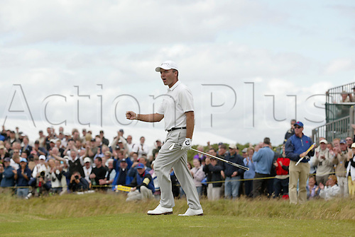 18 July 2004: French golfer Thomas Levet (FRA) celebrates holing out on the 4th green during the final round of The Open Championship played at Royal Troon, Scotland. Photo: Glyn Kirk/Action Plus...golf celebration 040718