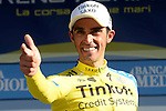 Alberto Contador (ESP) Tinkoff-Saxo wins his 2nd stage win in a row at the end of Stage 5 of the 2014 Tirreno-Adriatico, running from Amatrice to Guardiaghrele (192 km). 16th March 2014.      <br /> Photo: Fabio Ferrari/LaPresse/www.newsfile.ie